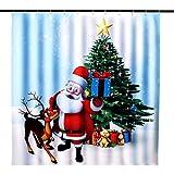 OurWarm Weihnachts-Duschvorhang Weihnachtsmann Elch Weihnachtsbaum Urlaub Duschvorhang für Badezimmer Dekoration, 183 x 183 cm wasserdichte Polyester Duschvorhang