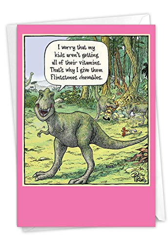 NobleWorks - Happy Mother's Day Card Funny - Cartoon Humor, Mom Greeting Card with Envelope - Chewables 0203
