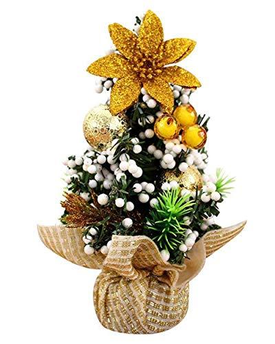 20CM Sapin de Noël Miniature Noël Déco Interieux,Sapin de Noel Mini Arbre de Noël Artificiel Miniature Decoration Table Ornements Christmas (D'or, ONE SIZE)