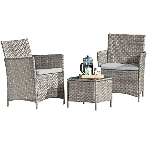 Thompson & Morgan Garden Bistro Set Rattan Furniture Outdoor Table & Chairs with Machine Washable Cushions (Snow Grey)