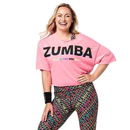 Zumba Activewear Camisetas Gráficas de Baile Top Deportivo Mujer Fitness de Entrenamiento, Bold Pink, XL