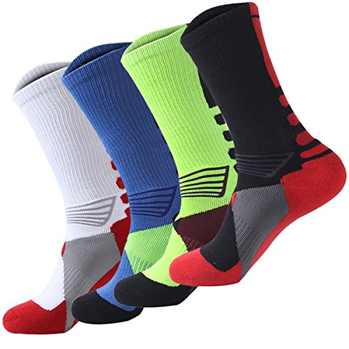 Tdeal 4 Pack Men's Sport Crew Sock Basketball Cushioned Dri-Fit Athletic Long Compression Socks (M 1)