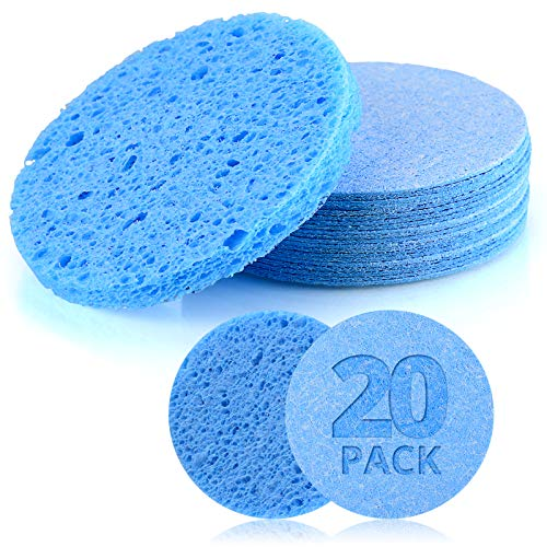 Facial Sponges Natural Compressed Cellulose Spa Sponge Reusable Cosmetic Facial Sponges for Face Cleansing Exfoliating Makeup Removal 20 Pcs Blue