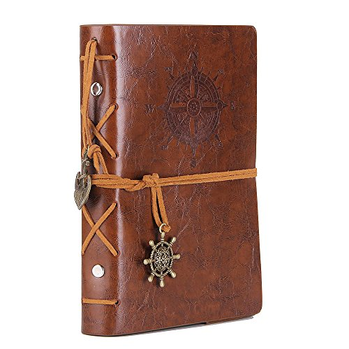 Leather Writing Journal Notebook, EvZ 5 Inches Vintage Nautical Spiral Blank String Diary Notepad Sketchbook Travel to Write in, Unlined Paper, Retro Pendants, Classic Embossed, Retro Brown