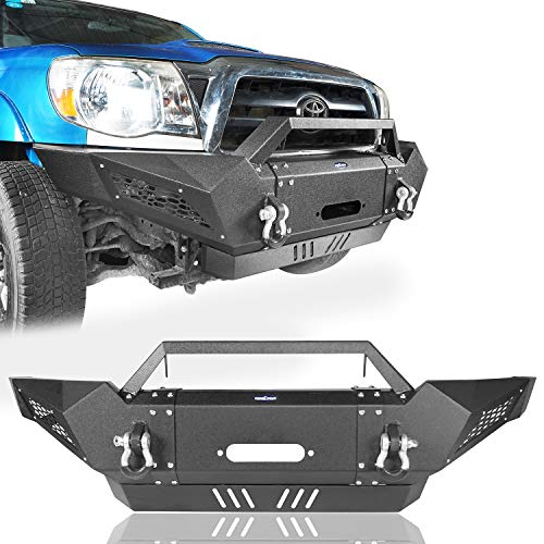Tacoma Front Bumper Full Width Off Road Front Bumper Guard w/2 ×18W LED Floodlights & Winch Plate for 2005-2015 Tacoma Pickup Trucks