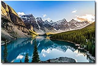 Wall Art Decor Poster Painting On Canvas Print Pictures Moraine Lake and Mountain Range Sunset Canadian Rocky Mountains Landscape Mountain&Lake Framed Picture for Home Decoration Living Room Artwork