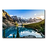 Colorado Wall Art Snow Mountain and Lake National Park Landscape Modern Artwork Painting Print On Canvas Framed Picture for Living Room Home Decoration