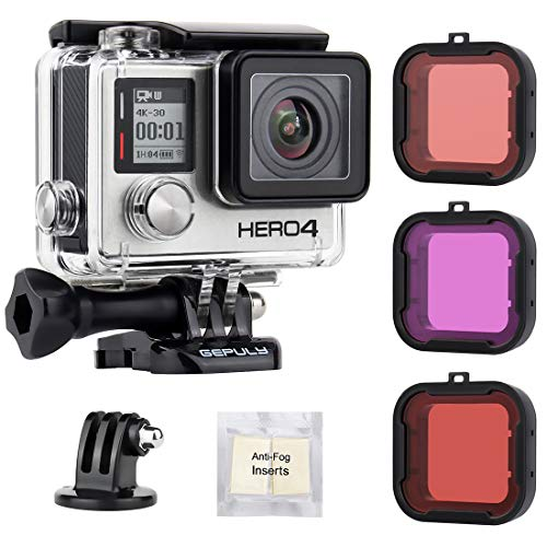 GEPULY Standard Waterproof Housing Case with Dive Filters for GoPro Hero 4, Hero 3+, Hero3 Action Cameras - 147 ft (45M) Underwater Photography - with Red, Light Red, Magenta Filters