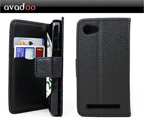 avadoo® Archos 40 Power Flip Case Cover Tasche Schwarz mit Magnetverschluss & Dualnaht als Cover Tasche Hülle