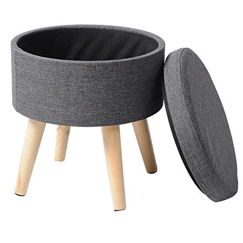 WOLTU® Sitzhocker mit Stauraum Fußhocker Aufbewahrungsbox, Deckel abnehmbar, Gepolsterte Sitzfläche aus Leinen, Massivholz, Dunkelgrau, SH08dgr-1