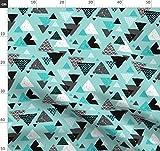 Indigen, Geometrisch, Aztekisch, Dreieck, Muster, Winter Stoffe - Individuell Bedruckt von Spoonflower - Design von Littlesmilemakers Gedruckt auf Performance Piqué