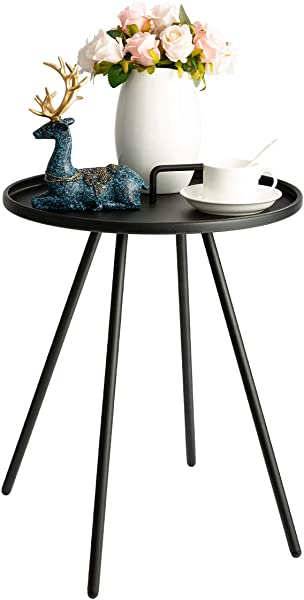 HollyHOME Convenient Patio Steel Side Table With Handle Accent Small Coffee Snack Table Round Metal End Table For Outdoor Or Indoor Use H 19 50 X D 16 38 Black