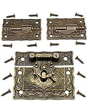 LUCY WEI 1 stuk antiek reliëf Haspe Latch Lock juwelendoos slot kist slot met vergrendelhaak 2 stuks scharnieren voor het verfraaien van kisten (met bijpassende schroeven)