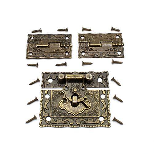 LUCY WEI 1 Stücke Antike Prägung Haspe Latch Lock Schmuckschatulle Schloss Truhen Schloss mit Rasthaken 2 Stücke Scharnier zum Verschönern von Kisten (Mit Passende Schrauben)