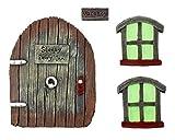 Cornucopia Fairy Garden Door and Windows Set (4-Piece Set); for Trees, Yard Art, Ornaments, and Sculptures