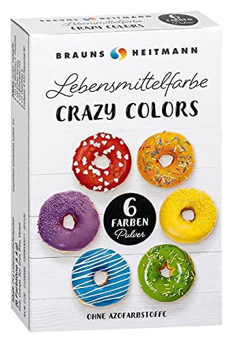 Brauns-Heitmann Crazy Colors Farbpulver: Farbe zum Einfärben von Desserts, Glasuren, Backwaren, Marzipan, Verzierungen und Zuckerüberzügen - Lebensmittelfarbe in 6 Farben zum Backen und Dekorieren