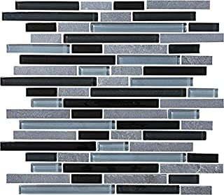 10 Square Feet - Bliss Black Timber Stone and Glass Linear Mosaic Tiles