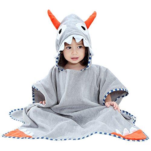 SHANNA Toalla de bebé con capucha, toalla de baño para niños y niñas, de 0 a 7 años, 70 x 70 cm, color gris