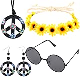 Hippie Boho Costume Set for Women and Men Include Flower Crown Headband Peace Sign Necklace Earring and Sunglasses, 60s 70s Hippie Dress Accessories
