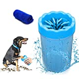 Focuspet Dog Paw Cleaner, Portable Pet Cleaning Brush Cup Dog Foot Cleaner Dog Feet Washer Soft Silicone Brushes for Cleaning Dirty Pet Feet for Small/Medium Dogs or Cats Muddy Paws 10 * 8.5 * 15CM