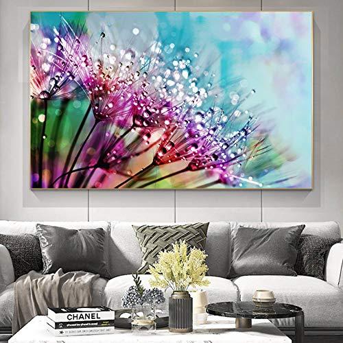 Mubaolei Flor con Gotas de rocío Paisaje Natural Lienzo Pintura Carteles e Impresiones Imagen de Naturaleza Muerta para decoración de Sala de Estar 40x60cm