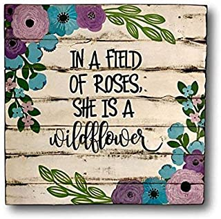 Emily in A Field of Roses She is A Wildflower Boho Nursery Decor Girl Bedroom Floral Nursery Decor 12 x 12 Inch Wooden Sign Crafts for Living Room Decorative
