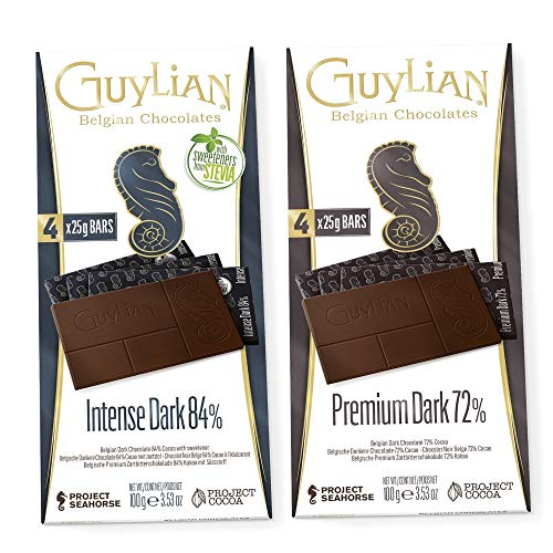 Guylian - Schokolade Set - belgische Schokolade - Zartbitterschokolade 72% 84% Kakao - Schokoladentafel Chocolate Bars - (2 x 100g)