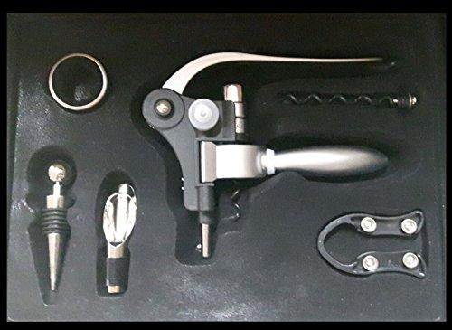 TxT Set per il vino in acciaio inox con apribottiglia e tappo decantatore 6 pz