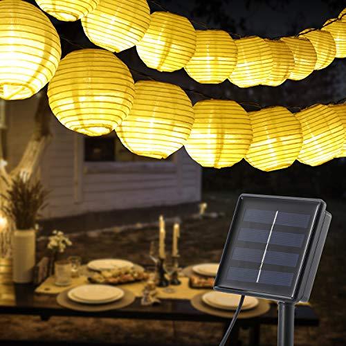 Solar exterior Luz Cadena, OxyLED 60 LED Guirnaldas de Luces Farolillos Solares Exterior Impermeable IP65 Ideal para bodas, hogar, jardín, terraza, patio, fiesta (blanco cálido) (con USB)