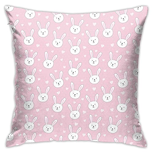 87569dwdsdwd Cute with Rabbit In Childish Style. Illustration Throw Pillow Cover Pillow Cases for Home Decor Design Cushion Case for Sofa Bedroom Car 18 X 18 Inch 45 X 45 cm