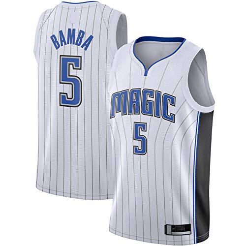 XIAOJI Equipo uniforme Blanco - Bamba Sudadera Baloncesto Jersey Orlando Ropa Mohamed Camiseta #5 2019/2020 Swingman Jersey Magic Association Edition-S