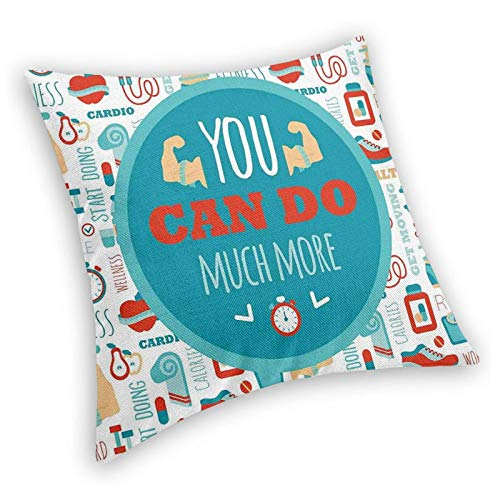 Retro Square Decorative Throw Pillow Cushion Cover,You Can Do Much More Encouraging Phrase with Gym Icons Cardio Sport Wellness,18 X 18 Inches