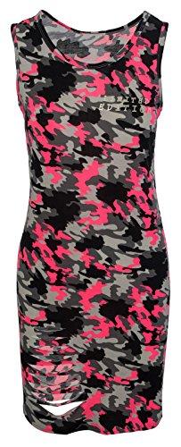 Rock Creek Selection figuurbenadrukte dames midijurk zomerjurk camouflage zomerjurk M10 S-L