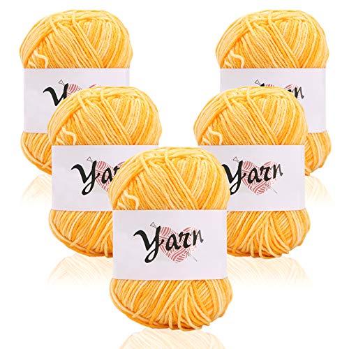 5x50g Pelotes de Laine en Acrylique, Fil à Tricoter, Coton, Multicolore, Kit de Fil Acrylique Hyper Doux pour Tissage à La Main, laine bonbon de fil pour crochet et tricot Yellow