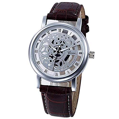 ITVIP - Reloj de hombre y mujer, estilo retro literario romano, con mecanismo de cuarzo analógico para cinturón Correa 250mm marrón