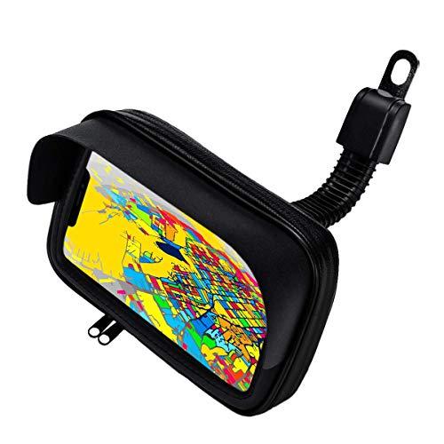 Telefoonhouder voor motorfiets, fiets, beschermhoes met antireflecterend vizier en veiligheidsbeugel, onbreekbaar op de achteruitkijkspiegel, geldig voor smartphones tot 6,5 inch