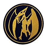Mighty Morphin Power Rangers Embroidered Iron on Patch / Pink Ranger Logo Badge Applique Pterodactyl Costume Fancy Dress