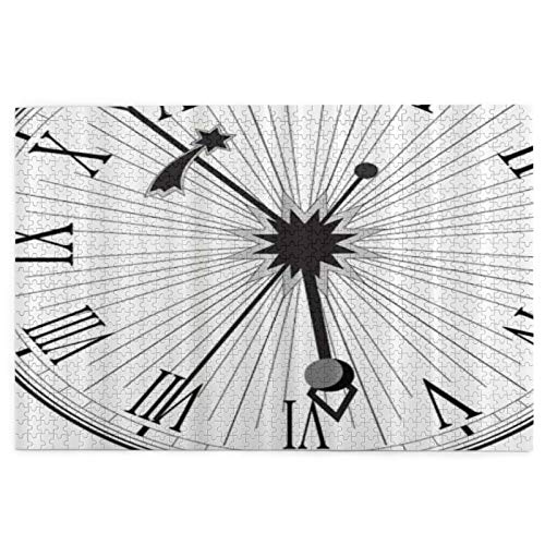 Holzpuzzle 1000 Teile für Erwachsene Retro Uhr römische Zahlen große Kunstwerke Puzzles Teenager