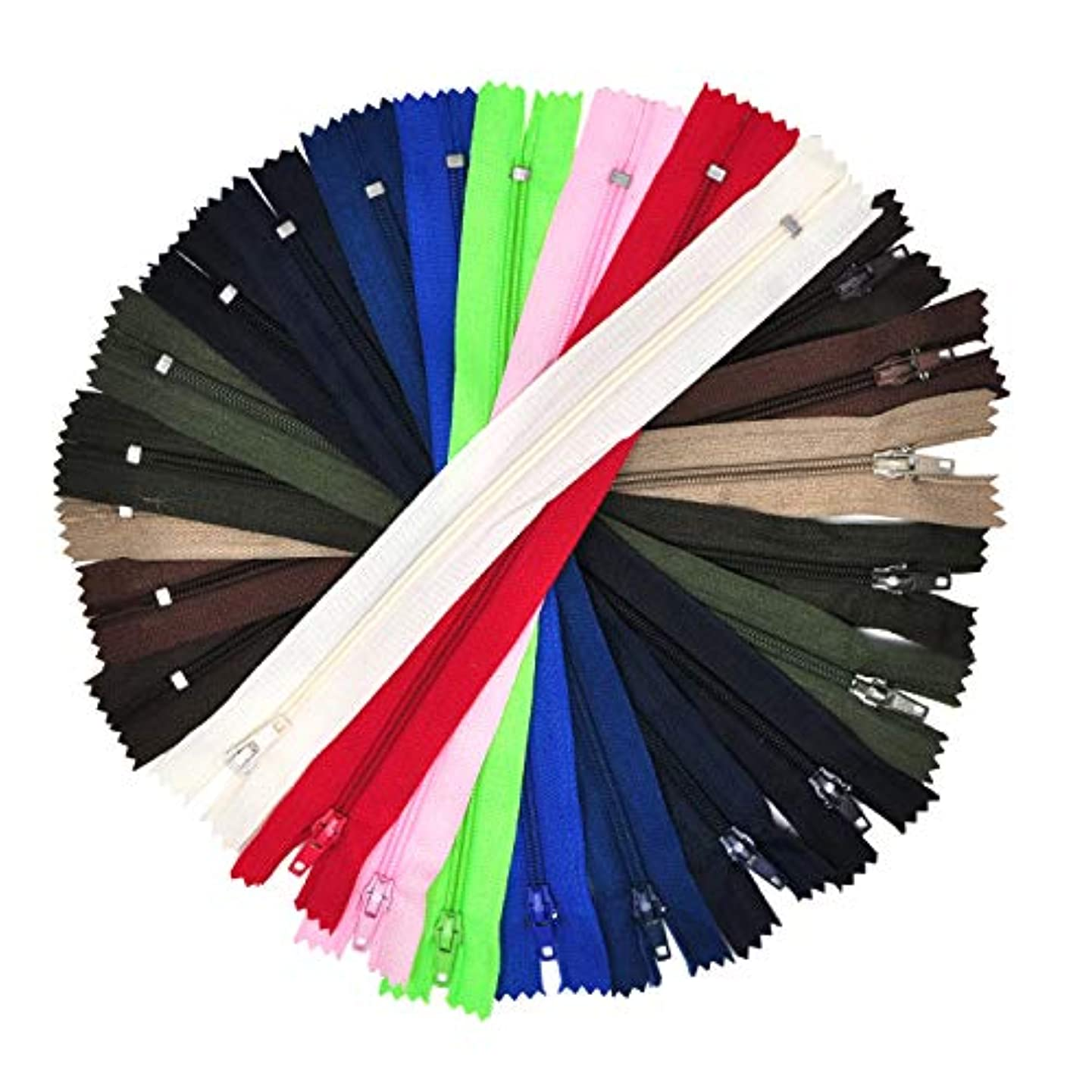 Mandala Crafts Colored Nylon Coil Zipper for Sewing, Handbag, Purse Making, Clothing, Wholesale Pack (8 Inches, Assorted Color)