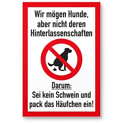 Kein Hundeklo/Keine Hundetoilette (weiß-rot) - Kunststoff Schild Hunde kacken verboten - Verbotsschild/Hundeverbotsschild, Verbot Hundeklo/Hundekot/Hundehaufen/Hundekacke