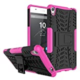 FaLiAng Sony Xperia XA Ultra Funda, 2in1 Armadura Combinación A Prueba de Choques Heavy Duty Escudo Cáscara Dura para Sony Xperia XA Ultra (Hot Pink)