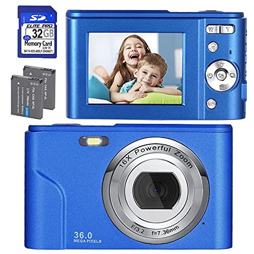 Digitalkamera, FHD 1080P 36.0 MP Mini Videokamera Wiederaufladbare Fotokamera Digitalkamera mit 32GB SD-Karte 16X Digitalzoom, Kompaktkamera für Kinder Studenten Teenager Erwachsene-Blau