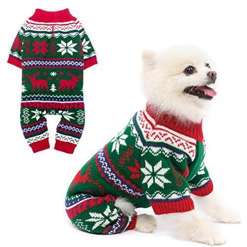 PUPTECK Dog Pajamas Winter Clothes - Christmas Knitted Dog Sweater Soft Cold Days Outfits with Elk Design, Pet PJS Jumpsuits Sweaters for Small Medium Dogs/Puppy/Cats/Kitties