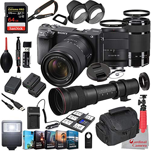 Sony Alpha a6400 Mirrorless Camera with 18-135mm and 55-210mm Lenses Bundle + Extreme Speed 64GB Memory + T-Mount 420-800mm Telephoto Zoom Lens (33 Items)