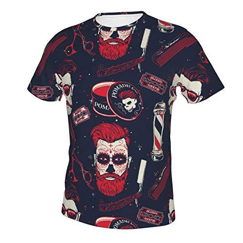 Short Sleeve Shirt Tops for Men Boys Teens Adult, Regular Big and Tall Sizes Vintage Barber Shop Tools L