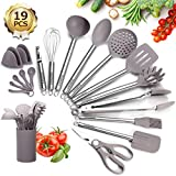 Kitchen Utensils Set Silicone, 19Pcs Cooking Utensils with Holder, Godmorn BPA-free Stainless Steel Handle Heat Resistant Kitchen Gadgets for Nonstick Pan Cookware, BPA Free Spatula Ladle Whisk,Gray