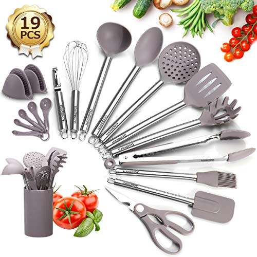 Godmorn Kitchen Utensils Set Silicone, 19Pcs Cooking Utensils with Holder, BPA-Free Stainless Steel Handle Heat Resistant Kitchen Gadgets for Nonstick Pan Cookware, BPA Free Spatula Ladle Whisk,Gray