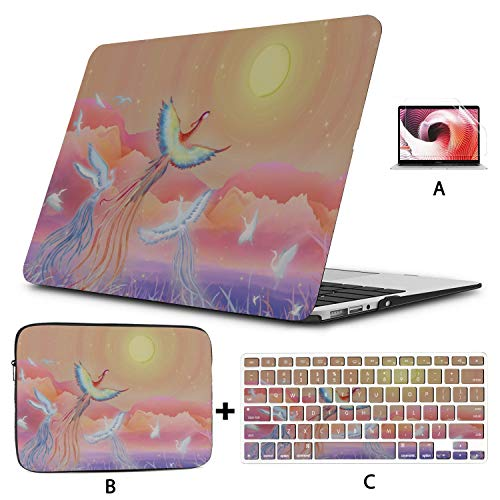 Cover MacBook Air Bright Phoenix and Colorful Feathers 15 Inch Laptop Case Hard Shell Mac Air 11'/13' Pro 13'/15'/16' with Notebook Sleeve Bag for MacBook 2008-2020 Version