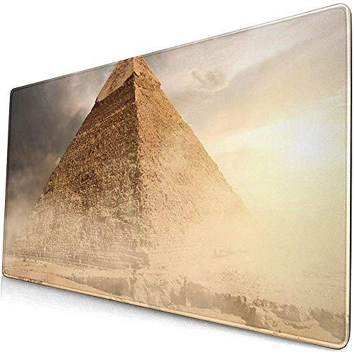 Gaming Alfombrillas de ratón extendidas con Base de Goma Antideslizante Pirámide de Egipto en Polvo de Arena bajo Nubes Grises Egipcio 30X80 Cm