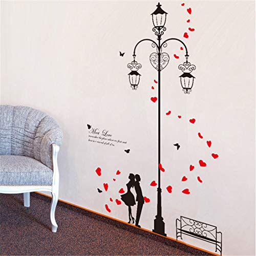 Amazon Brand - Solimo Wall Sticker for Bedroom (Couple Street Design ), Ideal Size on Wall: 114 x...